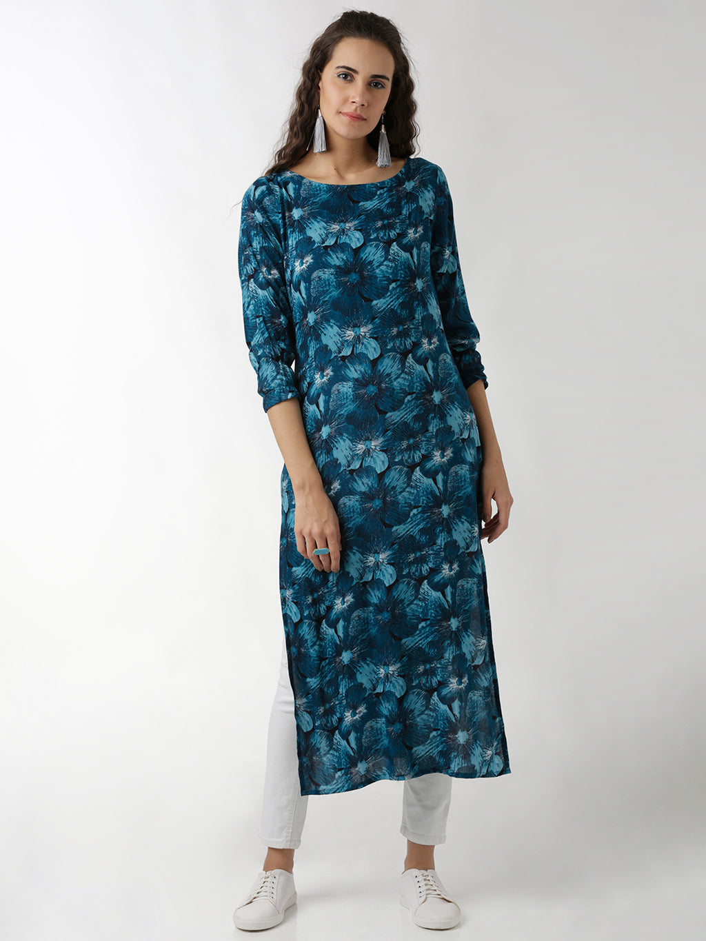 Breya Printed Blue Straight Kurta