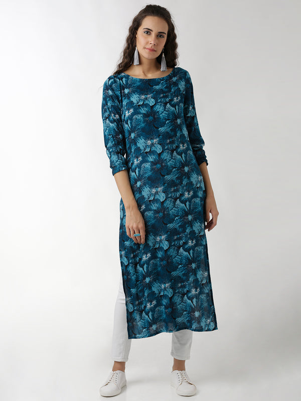 Printed Blue Straight Kurta
