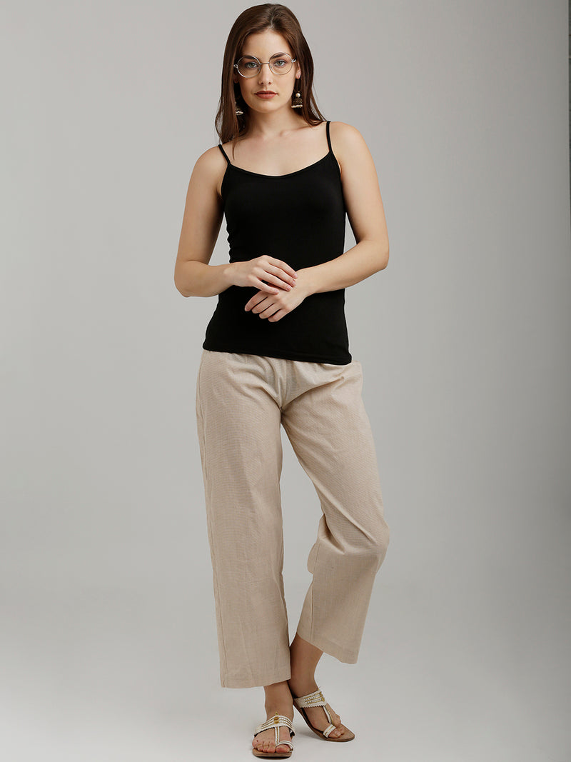 Solid Beige Parallel Pants