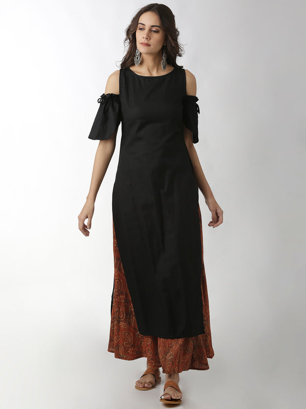 Black Solid Kurta