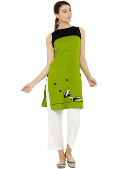 Car Embroided Sleeveless Green Tunic