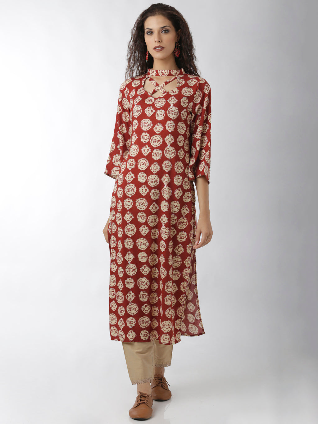 Breya Statement Neck Printed Maroon Straight Kurta