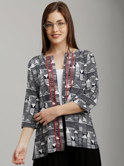 Navy City Scape Printed Jacket