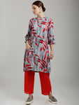 Breya Grey & Red Leaves Printed Tie Up Sleeved Dress