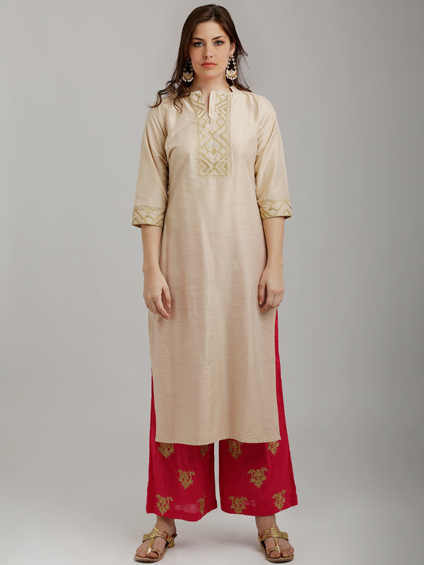Golden Embroidered Beige Silk Kurta