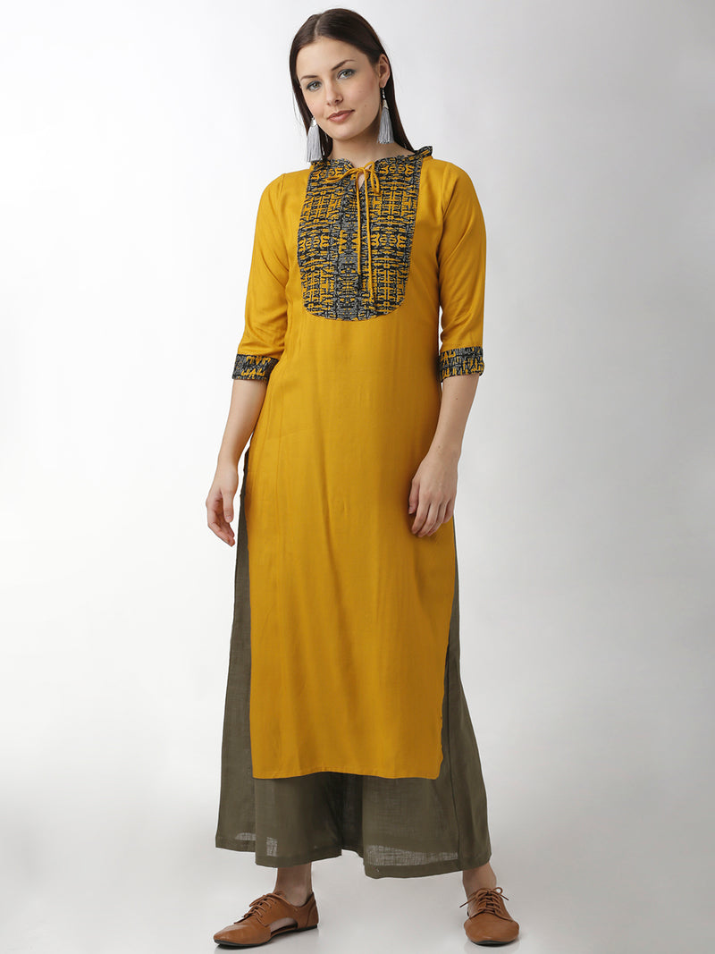 Printed Yoke Yellow Kurta