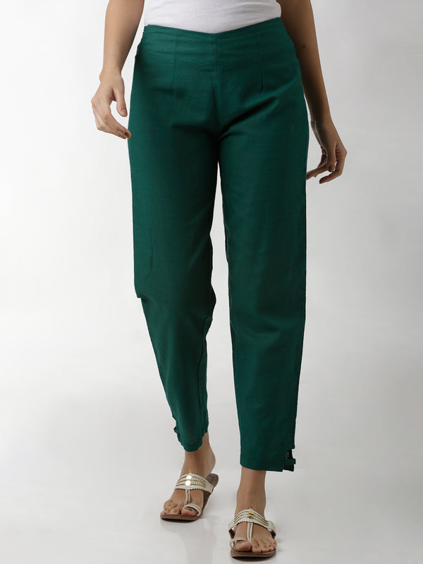 Green Linen Narrow Pants