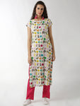 Breya Simple Short Sleeves Doodle Print Straight Kurta