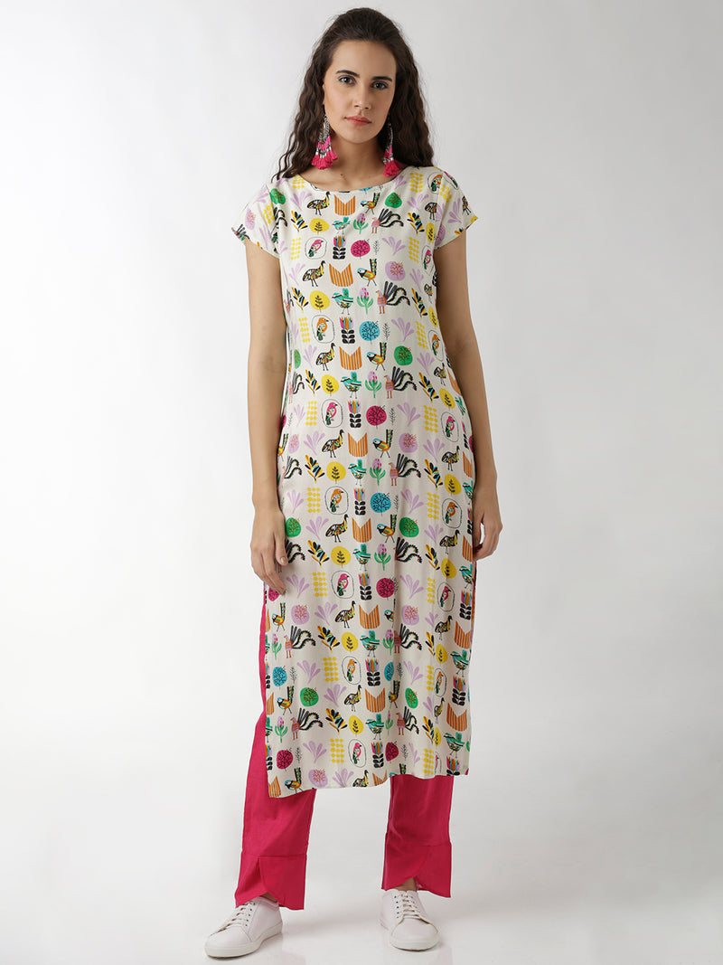 Simple Doodle Print Straight Kurta