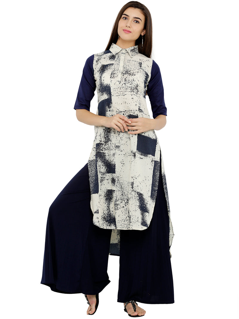 Shirt-Collar High-Low Printed Kurta