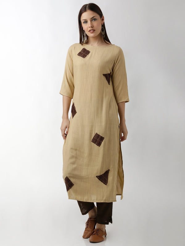 Appliqued Beige Straight Kurta