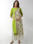 Breya Show Overlap Embroidered Green Straight Kurta
