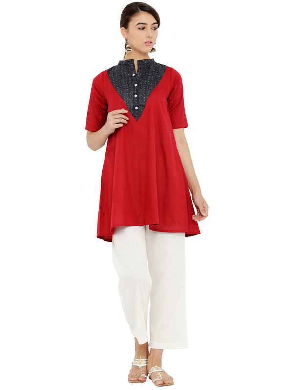 Formal Wear Flared Maroon Tunic