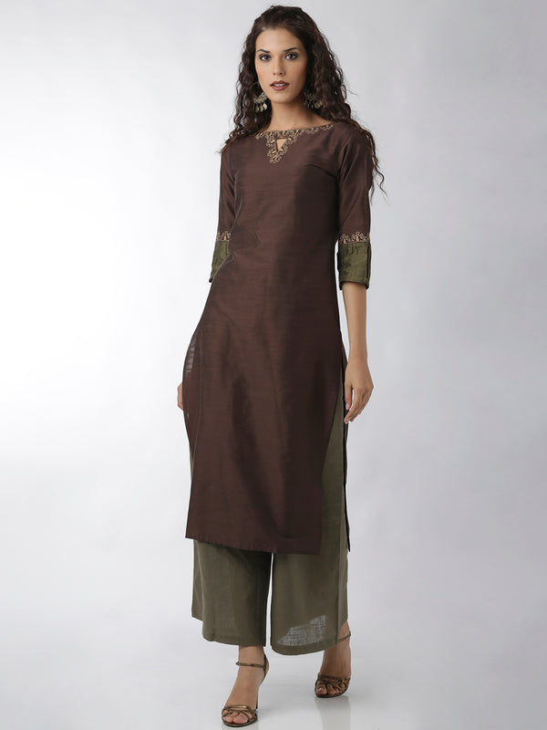 Embroidered Brown Straight Kurta