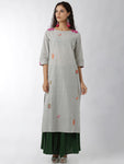 Breya Embroidered Grey And Pink Straight Kurta