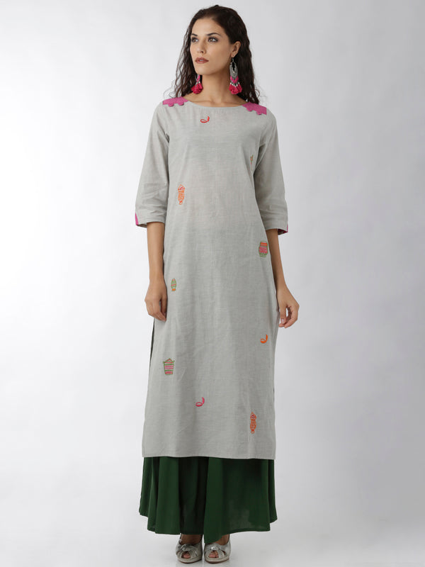Embroidered Grey & Pink Kurta