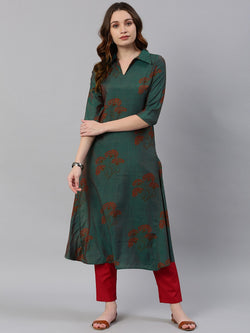 Sea Green Printed A-Line Kurta