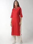 Breya Neck Embroidered Mandarin Collar Straight Red Kurta