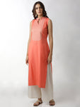 Breya Sleeveless Brocade Yoke Peach Straight Kurta