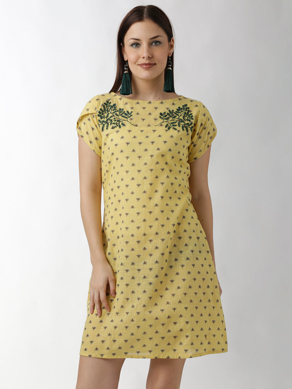 Yellow Embroidered A-Line Dress