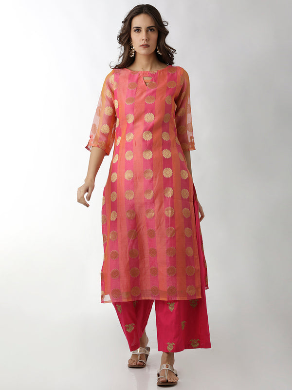 Brocade Straight Pink Kurta
