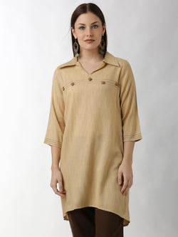 Beige Embroidered Tunic