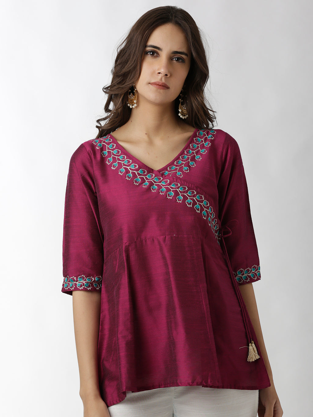 Breya Ethnic Show-Wrap Embroidered Border Burgundy Top