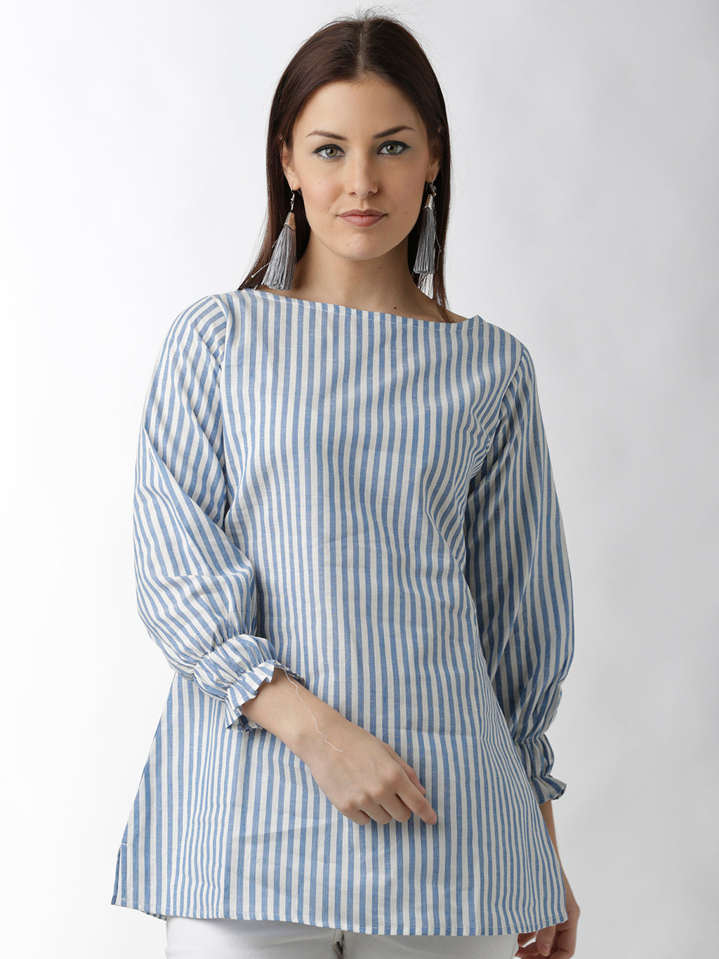 Breya Statement Sleeves Blue And White Striped Long Top