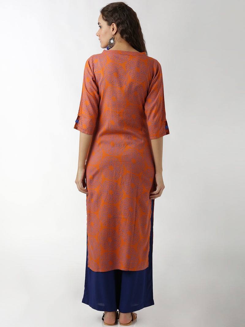 Orange Printed Straight Kurta