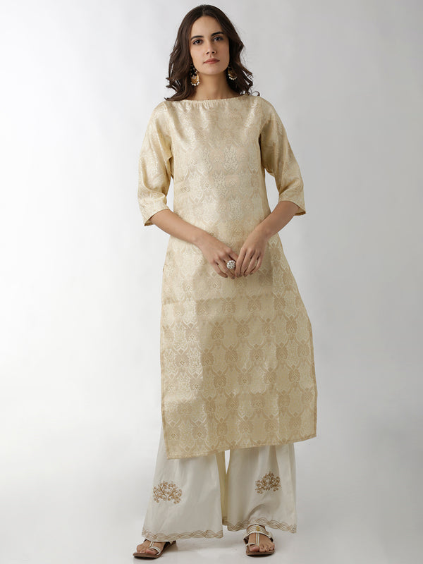 Brocade Cream Straight Kurta