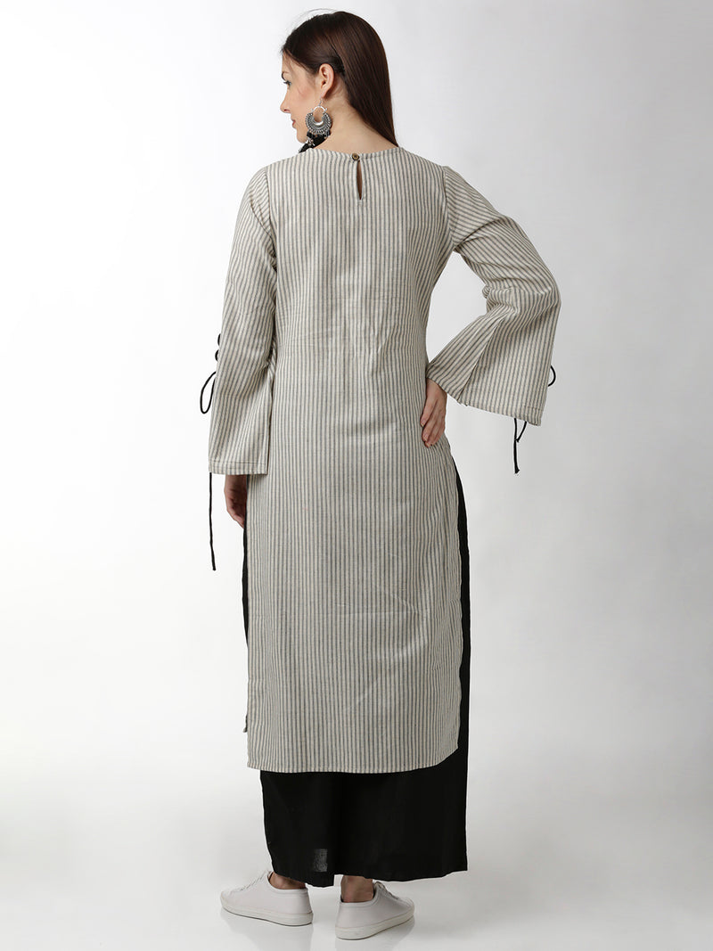 Black & White Striped Straight Kurta