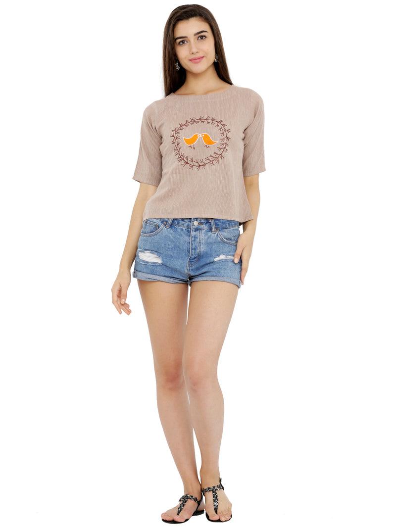 Bird Embroided Beige Crop Top