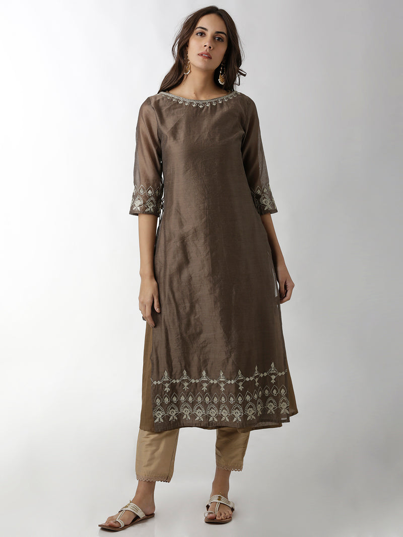 Two Layered Grey Embroidered Kurta