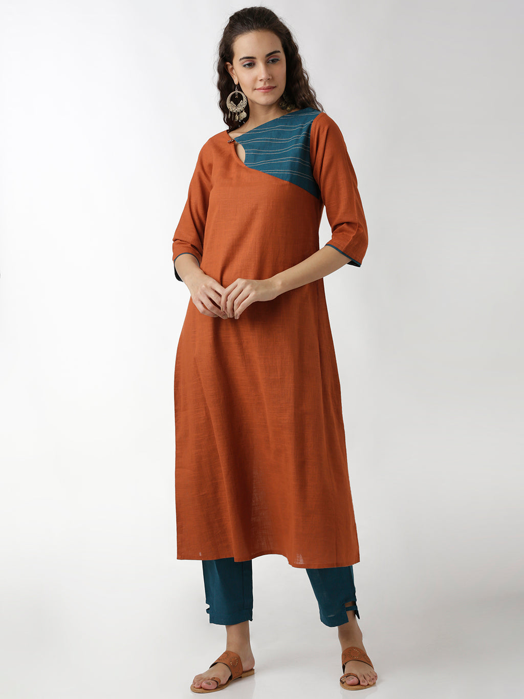 Breya A-Line Rust Solid Statement Neck Kurta