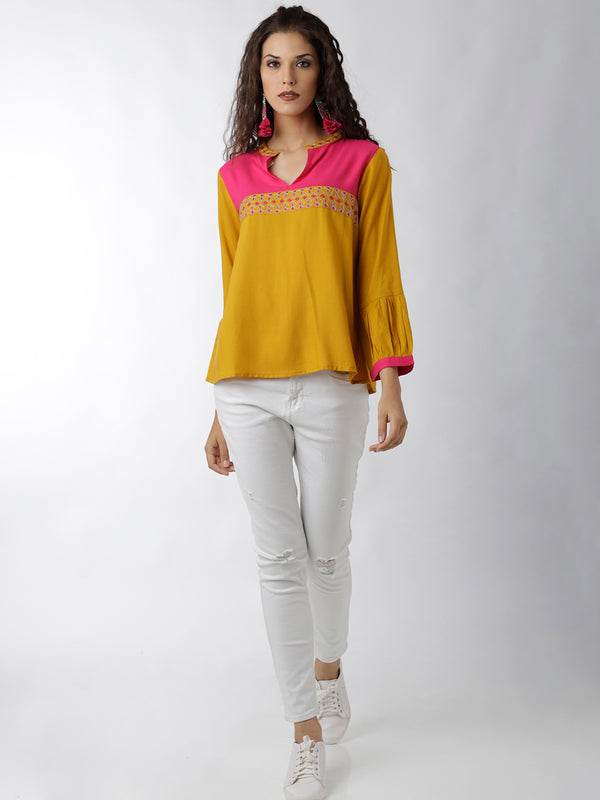 Yellow Magenta Top