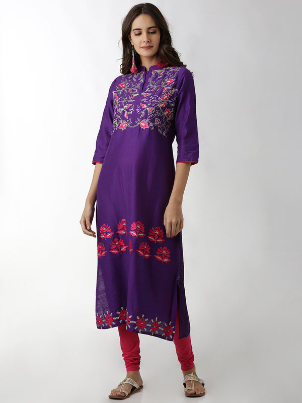 Embroidered Violet A-Line Kurta