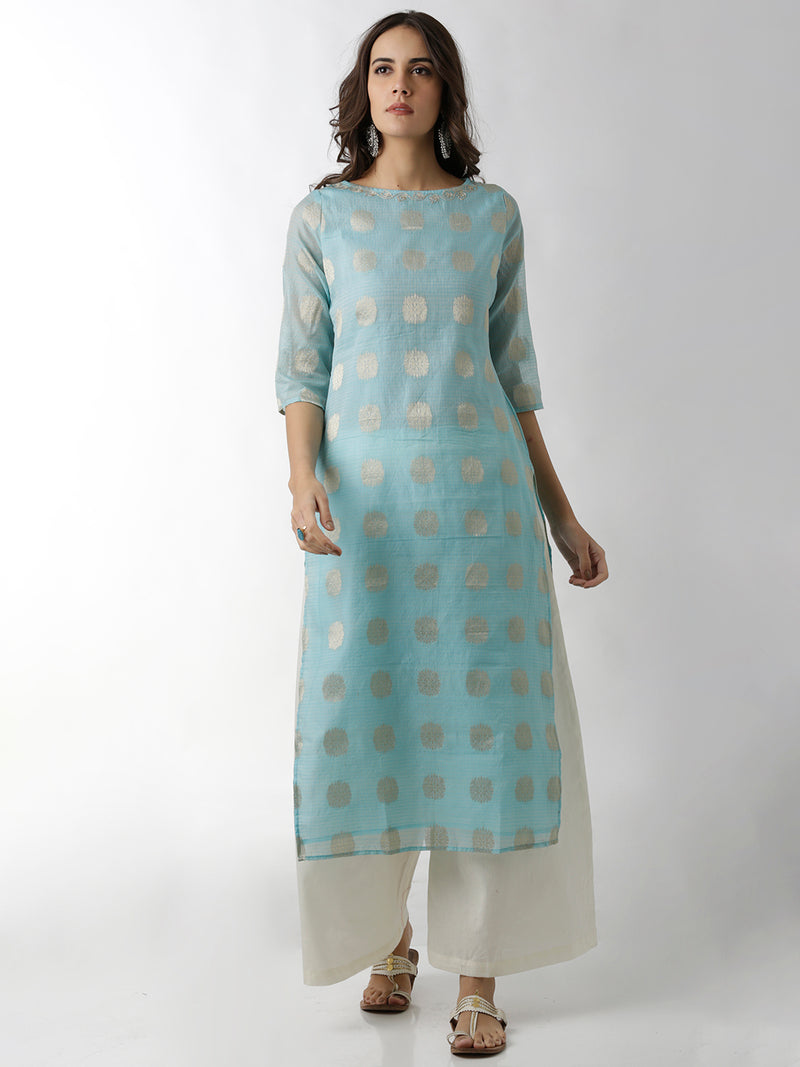 Embroidered Straight Light Blue Kurta