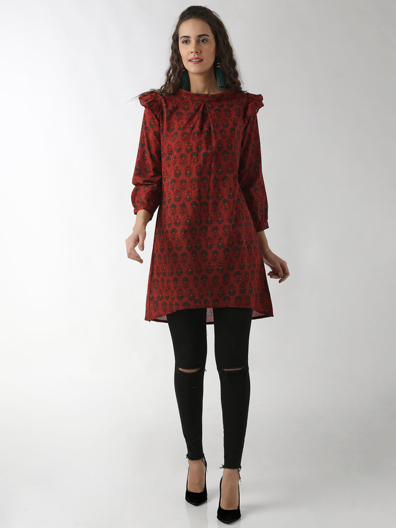 A-Line Printed Maroon Dress