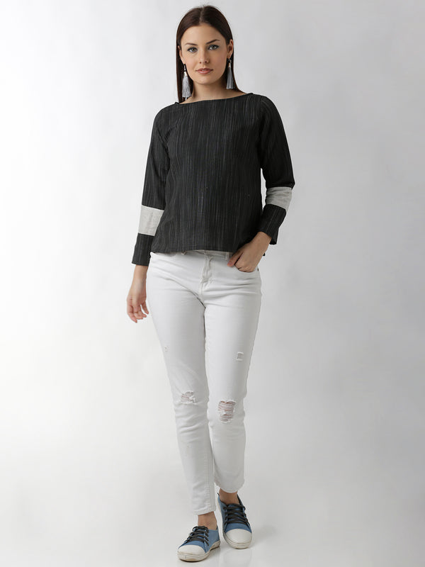 Statement Sleeve Solid Black Top