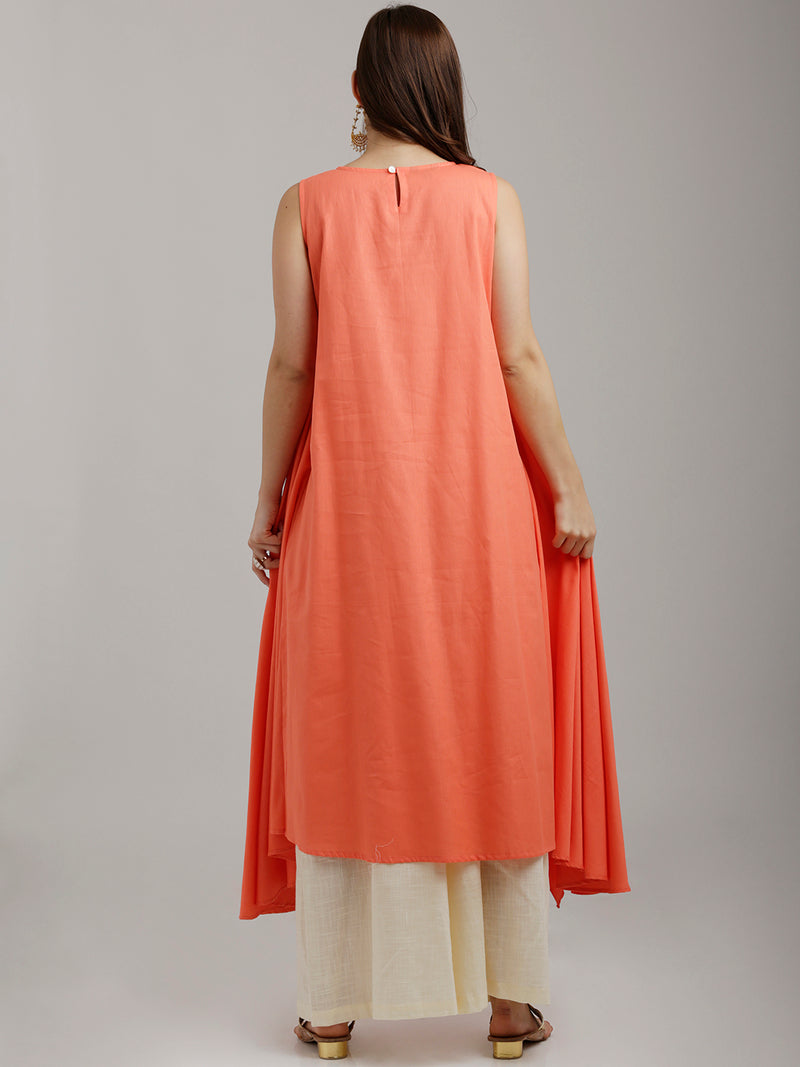 Peach Flared Panelled Kurta