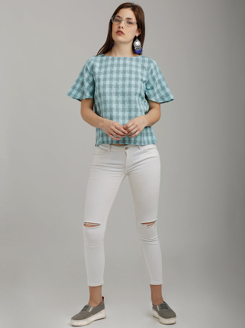 Pastel Blue Checkered Top