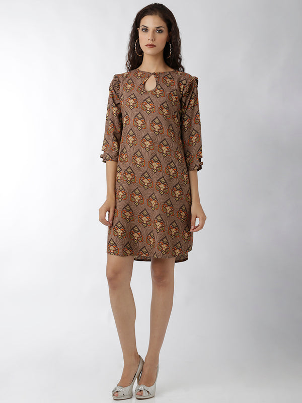 Brown Printed Dress