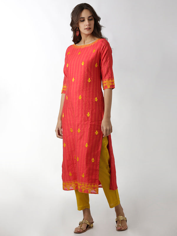 Boat Neck Straight Red Kurta