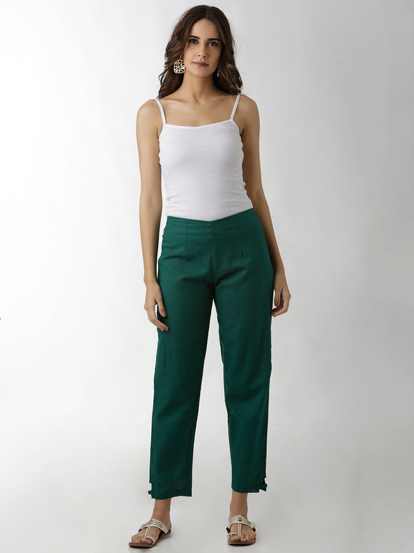 Green Hem Loop Full Length Narrow Trouser