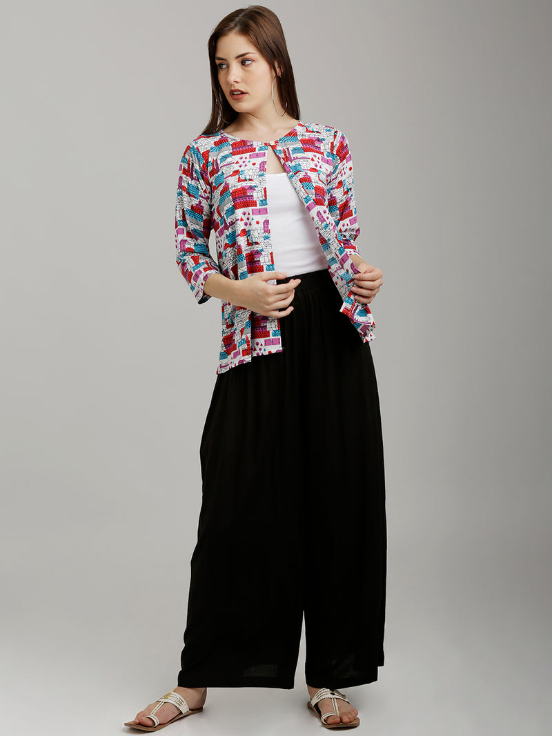 Colourful City Scape Printed Jacket