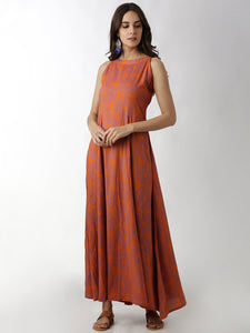 Breya A-Line Full Length Printed Maxi Dress