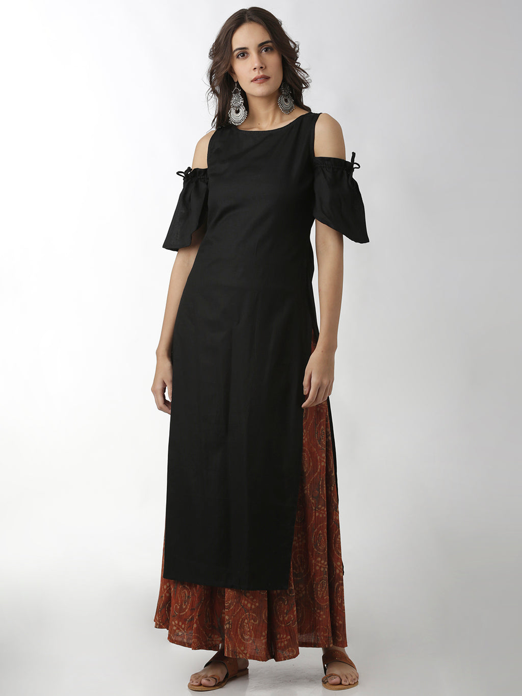 Breya Cold Shouder Solid Black Straight Kurta