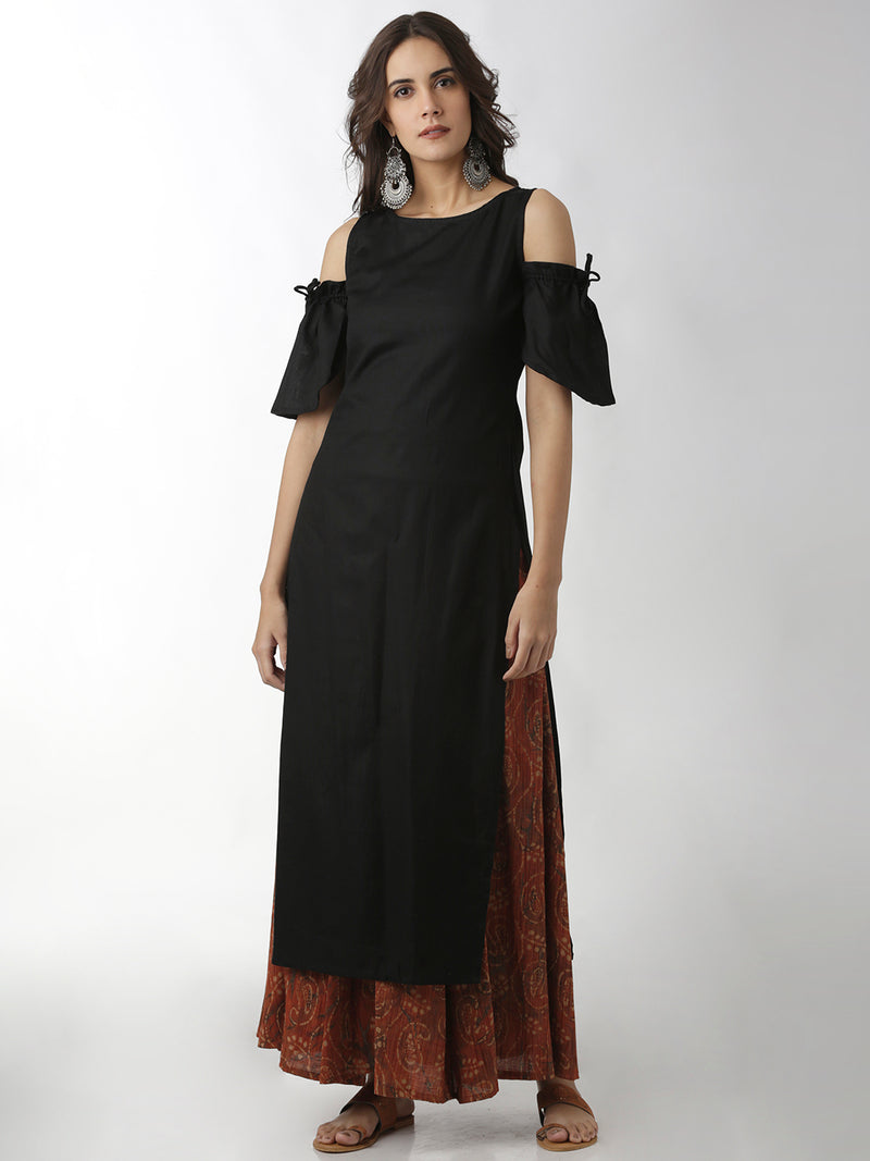 Solid Black Straight Kurta