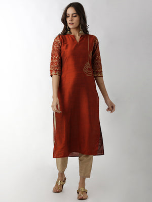 Breya Mandarin Collar Embroidered Dark Ornage Straight Kurta