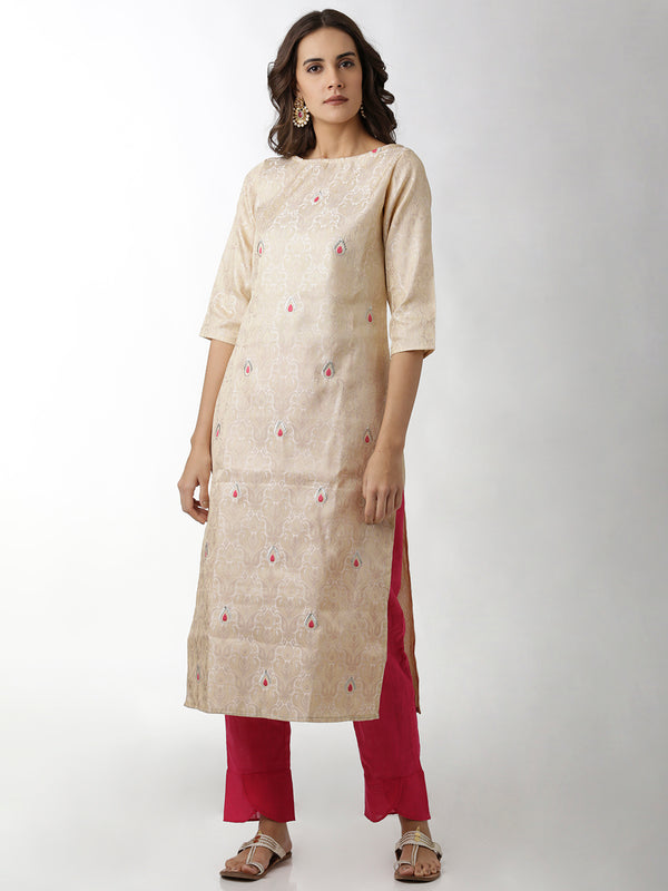Brocade Boat Neck Straight Kurta